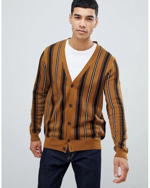 New Look - Cardigan In Brown Stripe for Men - Lyst