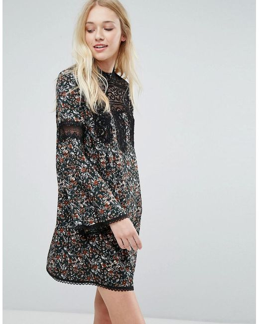 Liquorish | Black Floral Smock Dress With Lace Inserts | Lyst