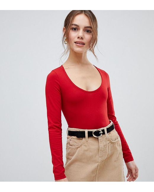 f810303c7cf6 Lyst - Miss Selfridge Scoop Neck Body In Red in Red