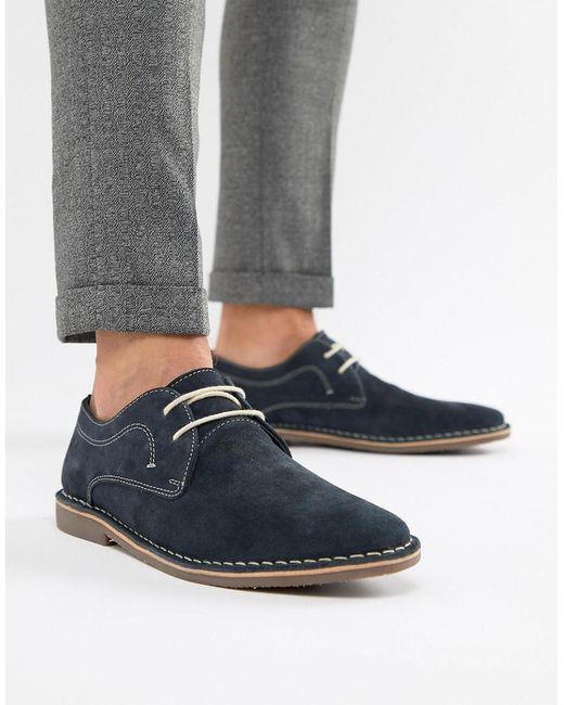 Red Tape - Blue Yuma Desert Brogue Shoe In Navy Suede for Men - Lyst