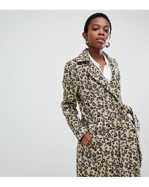 Lost Ink - Brown Coat With Side Tie In Leopard Print - Lyst