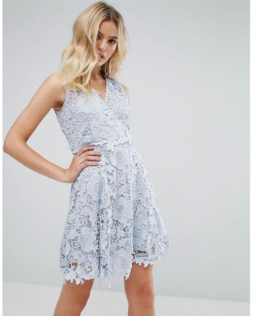 Amy Lynn - Blue Occasion Lace Wrap Over Skater Dress - Lyst