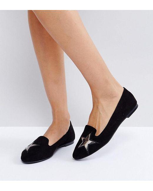 London Rebel - Black Star Detail Flat Shoe - Lyst
