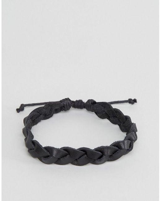 ASOS | Plaited Leather Bracelet In Black for Men | Lyst
