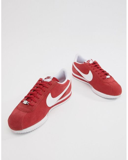 6eb5d68a164b8 ... order nike cortez suede trainers in in red 902803 600 for men lyst  41ec3 3cc2d