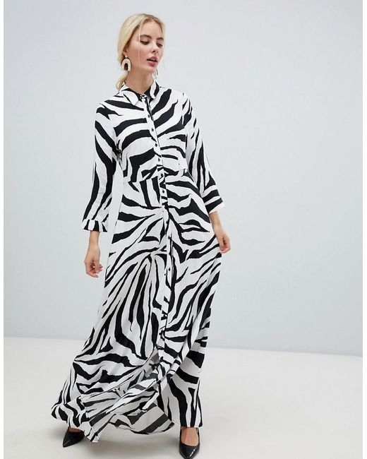Y.A.S - Multicolor Zebra Print Shirt Midi Dress - Lyst