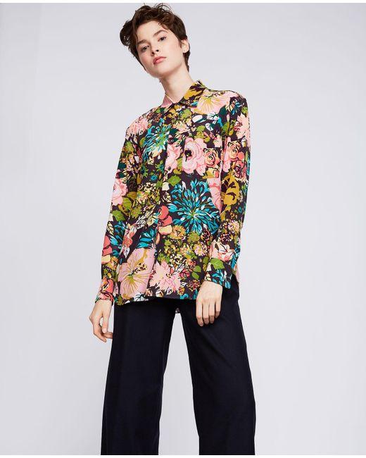 Aspesi - Multicolor Boyfriend Cut Printed Silk Shirt - Lyst