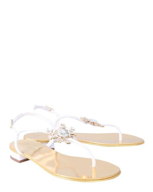 793cae970e250 Giuseppe Zanotti Crystal Crab Flat Flip-flops in White - Save 12% - Lyst
