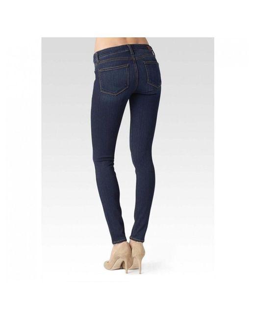 PAIGE - Blue Edgemont Mid Rise Skinny Jeans - Lyst
