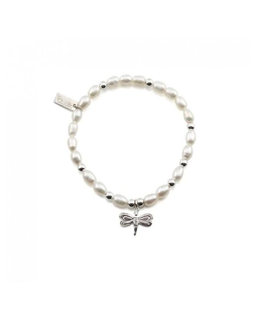 ChloBo - Metallic Mini Pearl Bracelet With Dragonfly Charm - Lyst
