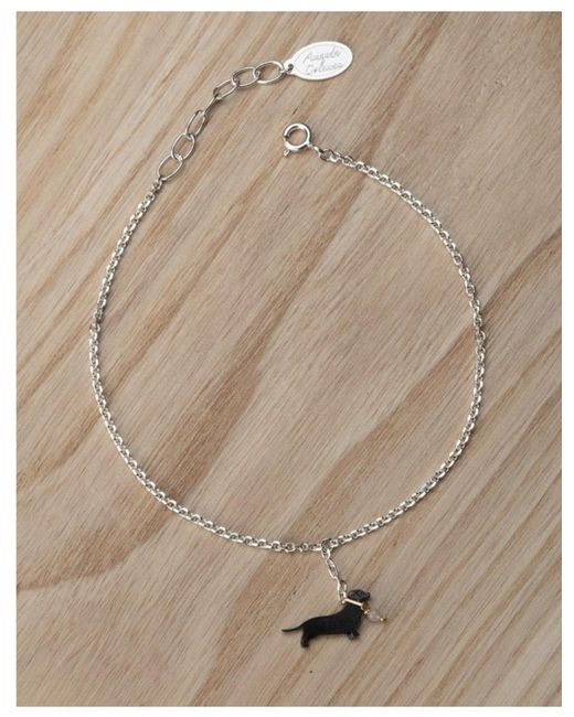 Amanda Coleman - Metallic Sausage Dog On A Lead Bracelet In Black - Lyst