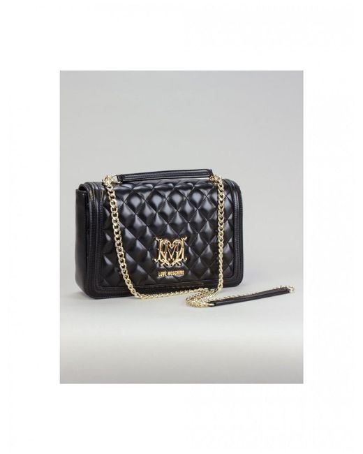 Love Moschino Black Quilted Special Badge Shoulder Bag