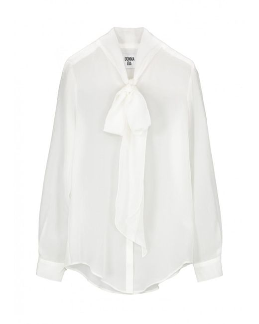 Donna Ida - White Miss Maggie Silk Pussy Bow Blouse - Lyst