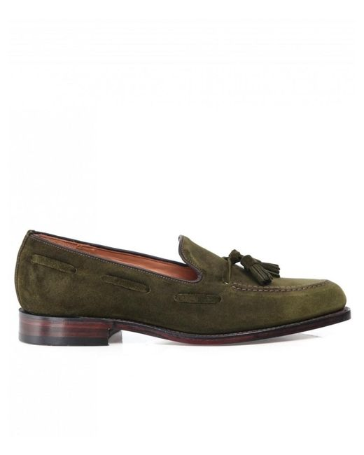 9c09b04d Loake - Green Suede Lincoln Tassel Loafers for Men - Lyst ...