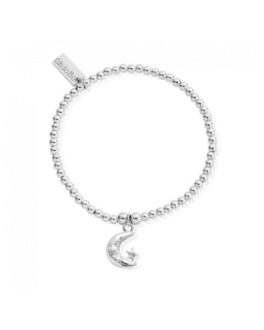 ChloBo - Metallic Cute Charm Mini Moon & Stars Bracelet- Silver - Lyst