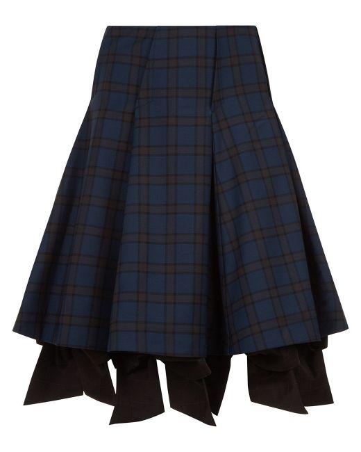 k navy tartan check bow skirt in blue navy lyst