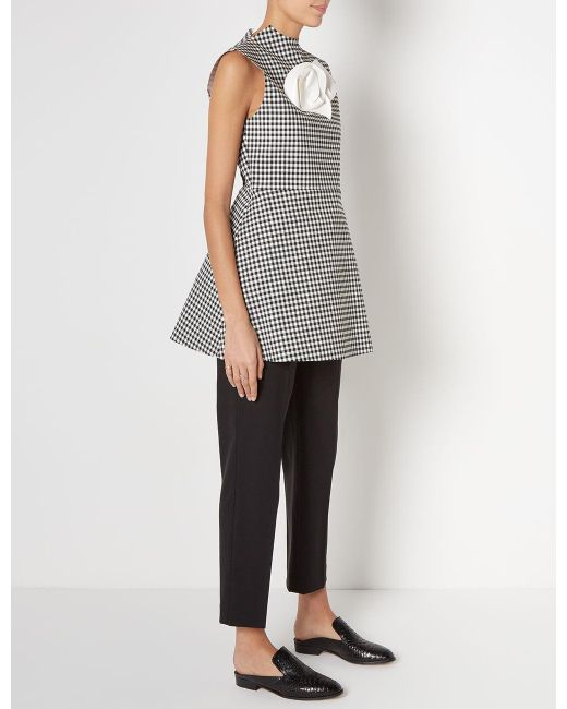 Awake Jellychess Gingham Sleeveless Brooch Top In Black Lyst