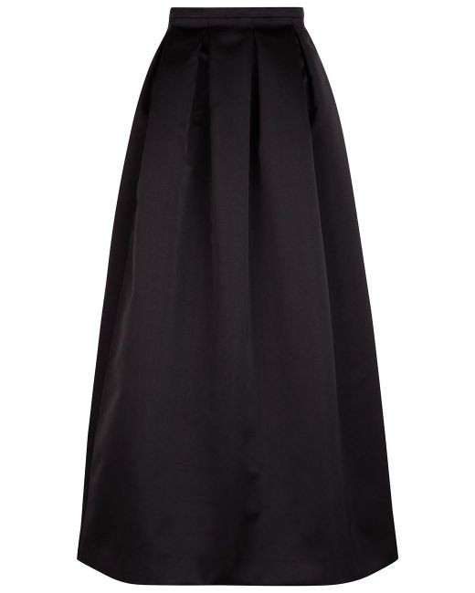 rochas black satin pleated skirt in black lyst