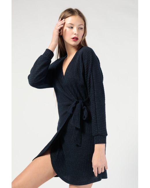 Azalea - Blue V Neck Ls Wrap Mini Dress - Lyst