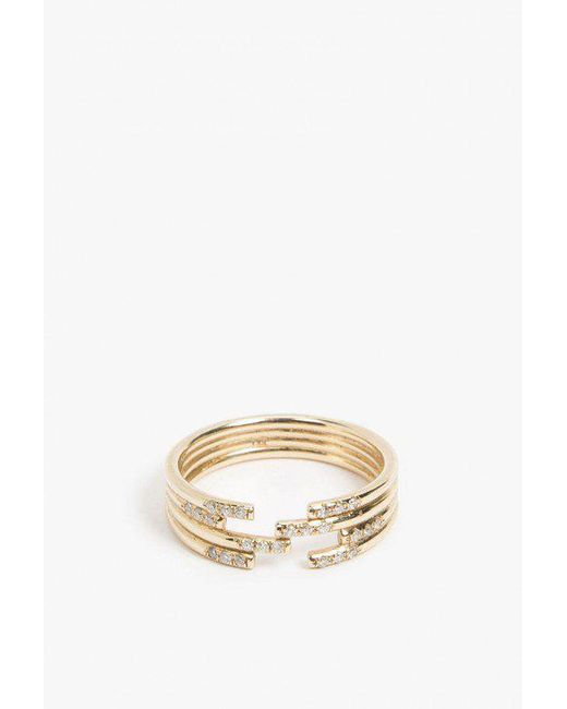 Jennie Kwon | Metallic Stacked Diamond Cuff Ring | Lyst