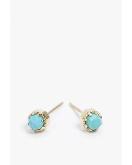 Grace Lee   Blue Petite Crown Bezel Earrings   Lyst