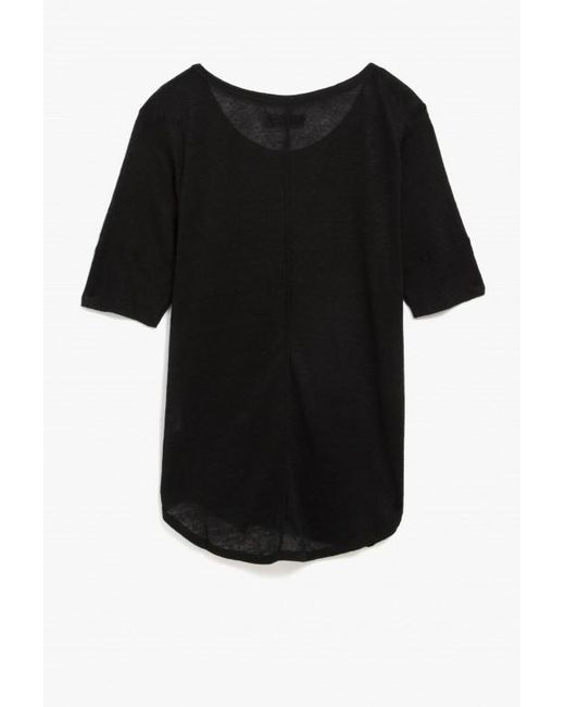 Anine Bing Boat Neck T Shirt In Black Lyst