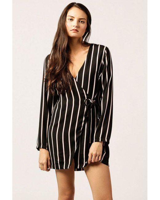 Azalea | Black Striped Buckle Wrap Dress | Lyst