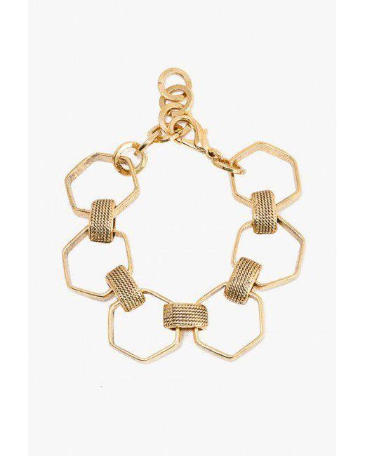 Nicole Romano | Metallic Hexagon And Texture Bracelet | Lyst