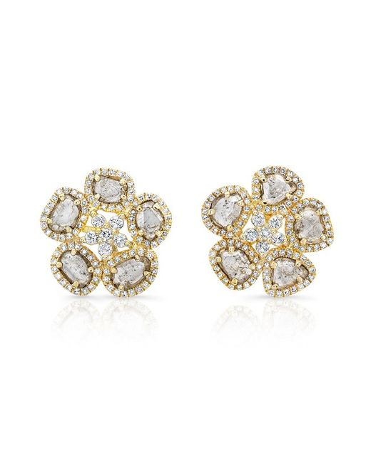 Anne Sisteron   Metallic 14kt Yellow Gold Diamond Slice Mae Flower Earrings   Lyst