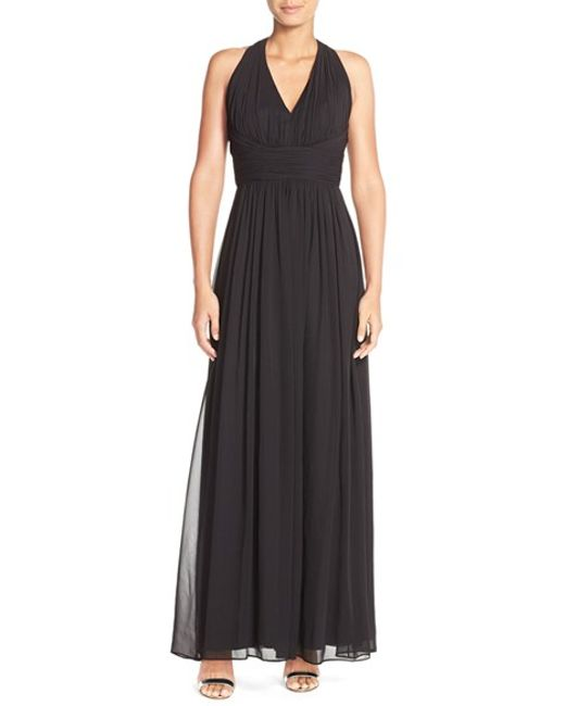 Dessy Collection | Black Ruched Chiffon V-neck Halter Gown | Lyst