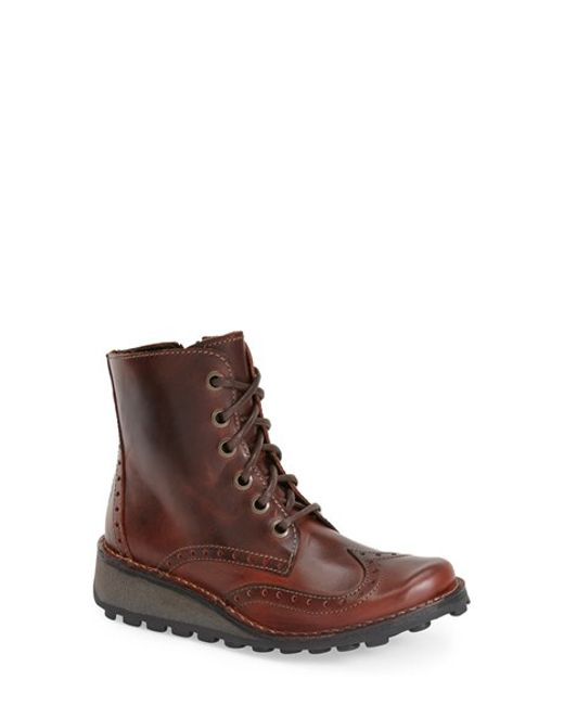 Fly London | Brown Marl Lace-Up Wedge Boots | Lyst