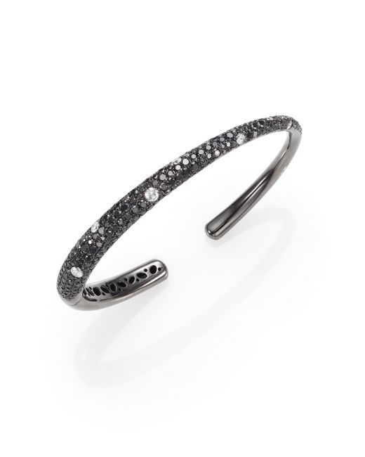 Kwiat | Cobblestone Black/White Diamond & 18K White Gold Cuff Bracelet | Lyst