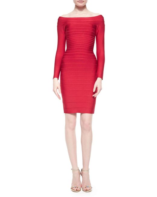 Hervé Léger | Red Long-sleeve Bandage Dress | Lyst