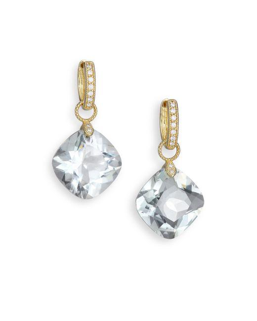 Jude Frances | Metallic Classic Green Amethyst, Diamond & 18k Yellow Gold Large Cushion Earring Charms | Lyst