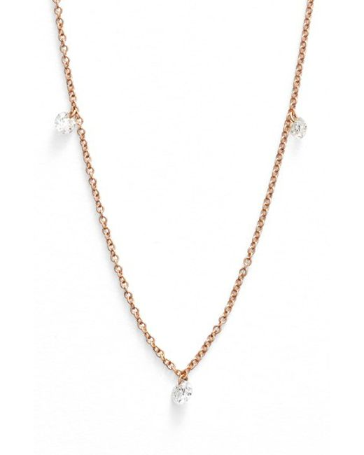 Bony Levy | Metallic 'floating Diamond' 3-diamond Necklace (nordstrom Exclusive) | Lyst