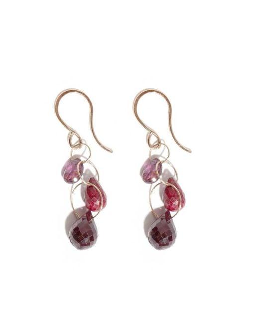 Melissa Joy Manning | Purple Ruby And Garnet Three Drop Earrings | Lyst