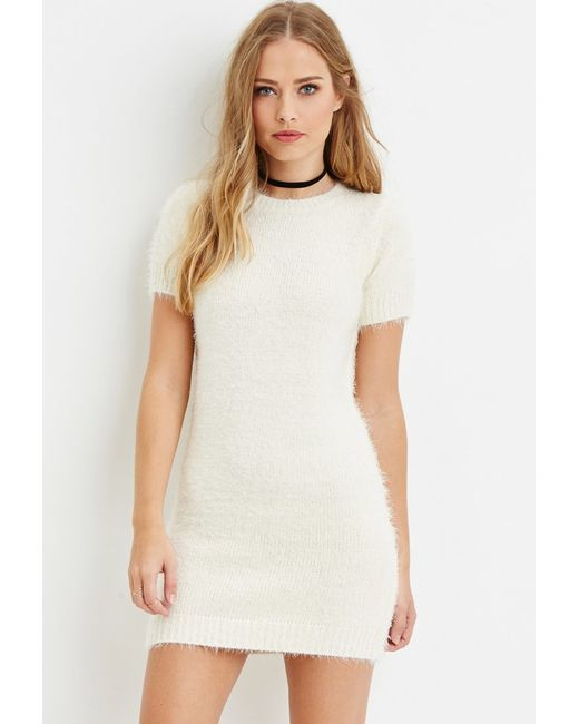 Forever 21 | Natural Fuzzy Knit Sweater Dress | Lyst