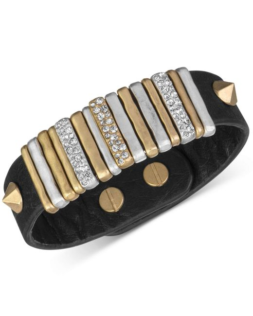 The Sak | Metallic Gold-tone Black Leather Slider Accent And Stud Bracelet | Lyst