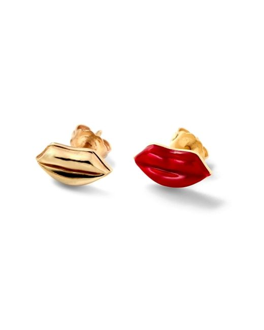 Alison Lou | Yellow Red Enamel Lip Stud | Lyst