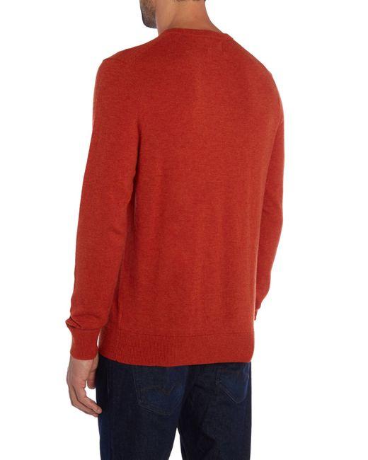 Howick | Orange Arlington V-neck 100% Lambswool Jumper for Men | Lyst
