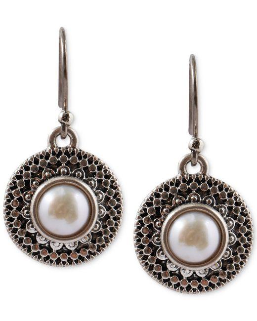 Lucky Brand | Metallic Silver-tone Freshwater Pearl Small Drop Earrings | Lyst