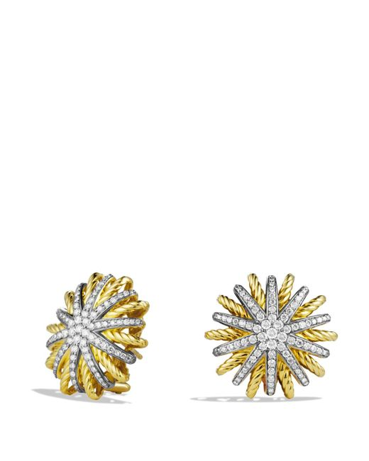David Yurman | Yellow Starburst Earrings With Diamonds In 18k Gold, 14mm | Lyst