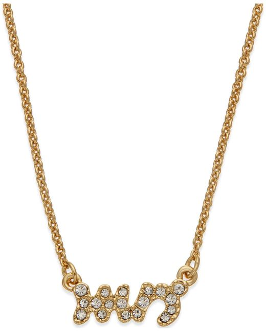Kate Spade | Metallic Gold-tone Crystal Pave Mrs. Pendant Necklace | Lyst