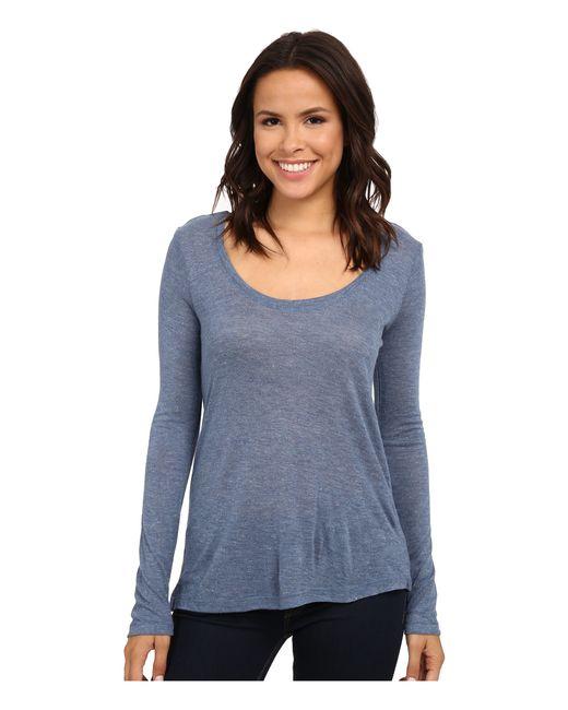 Splendid | Blue 1x1 V Neck T-shirt | Lyst