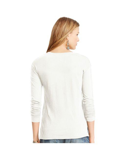 Polo Ralph Lauren | White Drapey Long-sleeved Tee | Lyst