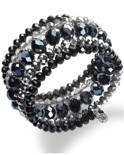 INC International Concepts | Silver-tone Jet And Metallic Beaded Coil Bracelet | Lyst