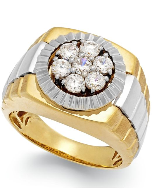 Macy's | Metallic Men's Diamond Two-tone Ring In 10k Gold (1 Ct. T.w.) for Men | Lyst