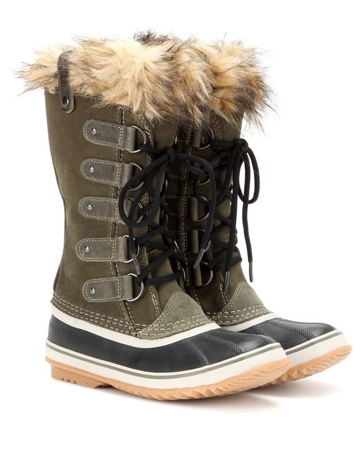 Sorel | Green Joan Of Arctic Suede And Rubber Boots | Lyst
