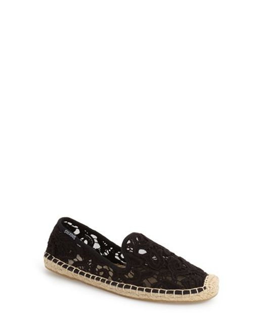 Soludos | Black Tulip Lace Smoking Slipper Espadrilles | Lyst