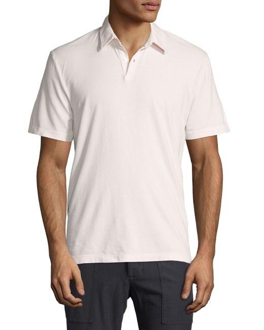 James perse short sleeve cotton jersey polo shirt in white for James perse t shirts sale